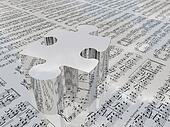 Puzzle and sheet music reflecting clouds Sheet music is proviede with 3D software used to create this image and no realese is needed