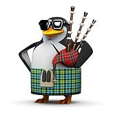 3d Scottish penguin plays the bagpipes