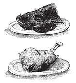 Hure boar and Knuckle, vintage engraving.