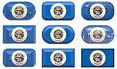 nine glass buttons of the Flag of Minnesota