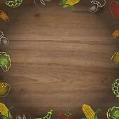 Wooden Background With Drawn Vegetables