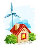 house with wind turbine for electric energy generation