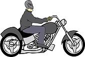 Bike Rider with Skull Helmet