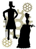 Silhouettes of Steampunk Victorians grungy gear