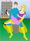 Love struck superhero holding woman missing disast