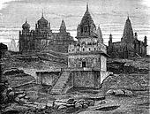 Jain temples has Sounghur, vintage engraving.