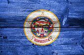 Minnesota State Flag painted on old wood plank texture