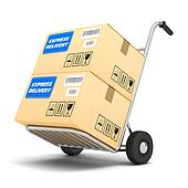 Delivery packages on a cart