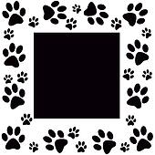 Animal paws  monochrome frame