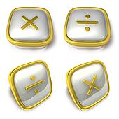 Multiply and Division 3d metalic square Symbol button. 3D Icon D