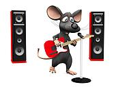 Cartoon mouse singing in microphone and playing guitar.