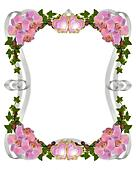 Orchids and ivy wedding invitation border