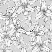 black and white seamless background with lilies and butterflies.