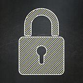 Information concept: Closed Padlock on chalkboard background