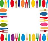 Cutlery color background menu