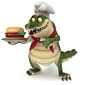 Croc showing burger