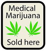 An illustration of a medical marijuana sold here sign