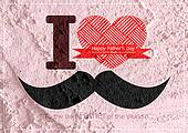Father's Day card with mustache  on Cement wall texture backgrou