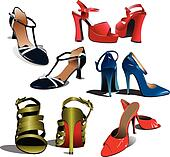 of Fashion woman shoes. Vector illustration