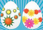 Decorative easter eggs on blue background, vector illustration