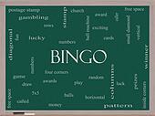 Bingo Word Cloud Concept on a Blackboard