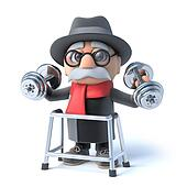 3d Grandpa with walking frame is lifting weights!