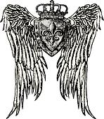 royal emblem with wing tattoo