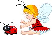 Cute baby fairy and ladybug