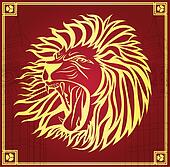 leader invitation poster with gold lion