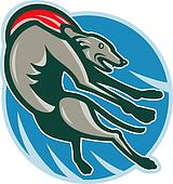 Greyhound racing and jumping set inside circle.