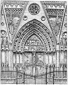 Exterior woodwork of the choir of Notre-Dame, vintage engraving.