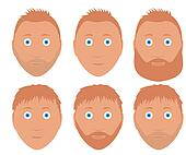 set of illustration man faces with different hairstyle and beard redhead