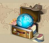 Globe Suitcase And The Hat