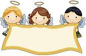 Angels holding Banner