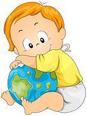 Baby Hugging Globe
