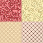 Heart and net seamless patterns