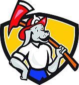 Dog Fireman Firefighter Fire Axe Shield Cartoon