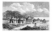 Cambouta Village, vintage engraving