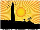 Silhouette lighthouse beach sun ray grunge