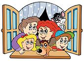 Happy family in open window