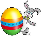 Easter bunny with colorful egg