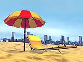 Summer relaxation, city behind- 3D render