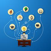 education infographic with book stack and icons