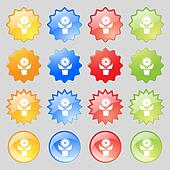 Flowers in pot icon sign. Big set of 16 colorful modern buttons for your design.