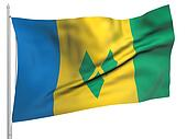 Flying Flag of Saint Vincent and Grenadines - All Countries