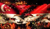 Singapore Indonesia Flag War Torn Fire International Conflict 3D