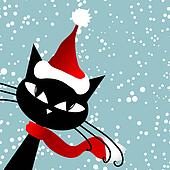 Santa cat. Christmas card.