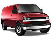 Red cargo van