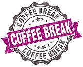 Coffee break violet grunge retro style isolated seal
