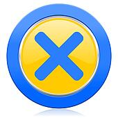 cancel blue yellow icon x sign